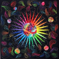 Celestial Starburst Fiber Art Quilt by Margery O Hedges, via Etsy.