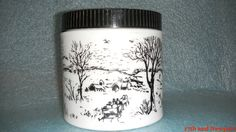 Currier & Ives Milk Glass Canister with LidBlack by 17thandnewport, $14.99