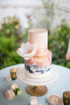 blush pink and shade of blue spring wedding cakes/ rustic chic watercolor spring wedding cakes #pinkweddingcakes