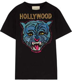 Gucci Appliquéd Cotton-jersey T-shirt - Black Loose Shirts, Casual T Shirts, Men Casual, Loose Tops, Loose Fit, Going Out Shirts, Going Out Tops, Gucci Shirts, Gucci Tee