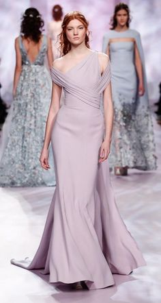 Soft lavendar evening gown.    Georges Chakra is a Beirut-based Lebanese haute couture fashion designer.