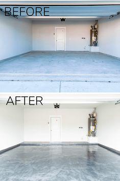 How to apply a DIY epoxy floor coating in your garage. #diy #diyproject #garage #epoxyfloor #prideinthemaking #rustoleum Epoxy Floor Diy, Epoxy Floor Basement, Garage Floor Finishes, Epoxy Garage Floor Coating, Garage Epoxy, Garage Floor Paint, Garage Floor Coatings, Metallic Epoxy Floor, Diy Epoxy