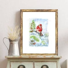 Christmas Bird, Etsy Christmas, Christmas Gift Guide, Christmas Wishes, Christmas Gifts, Christmas Decorations, Watercolor Christmas, Small Shops, Creative Things
