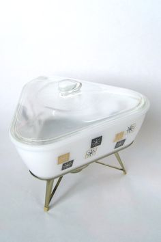vintage 1960s Inland Glass atomic snowflake retro triangular chafing casserole dish by fuschiafoot, $29.99