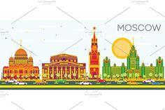 #Moscow #Skyline with Color Buildings by Igor Sorokin on @creativemarket