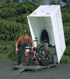 Shed Plans - Awesome shed! Love how you can lock it AND protect you bike from the elements. - Now You Can Build ANY Shed In A Weekend Even If You've Zero Woodworking Experience! Motorbike Shed, Motorcycle Storage Shed, Motorcycle Garage, Motorcycle Shed Ideas, Motorcycle Trailer, Motorcycle Camping, Diy Storage Shed Plans, Wood Shed Plans, Storage Ideas