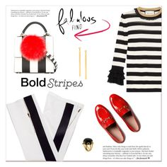 """Bold stripes..."" by nihal-imsk-cam ❤ liked on Polyvore featuring Gucci, Les Petits Joueurs, Valentin Magro, Lana and BoldStripes"