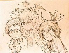 Mahiru Shirota, Kuro - Sleepy Ash, Tetsu Sendagaya, Hugh the Dark Algernon, Snow - Lily and Misono Alicein