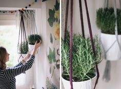 DIY Macrame Plant Hanger  (also, love her little garland! this could be fun in the kitchen window)