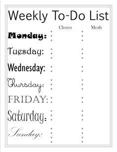 To Do List and Menu Printables
