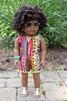 """Tropical Tribal Romper for American Girl Doll or 18"""" Doll"""