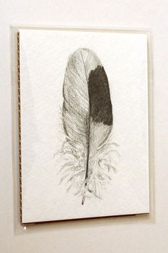 Found Feather Original Pencil Drawing ACEO by WaterfallTree