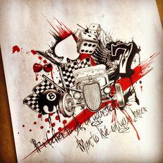 Hotrod themed trah polka in Tattoo Design