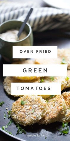 """There's nothing """"fried"""" about these oven-fried green tomatoes! Plump tomatoes are dredged in flour, and Japanese breadcrumbs then baked until crisp. Serve these along with a simple chipotle ranch dipping sauce and you have yourself a little taste of the south! Chipotle Ranch, Fried Green Tomatoes, Fries In The Oven, Healthy Salads, Bread Crumbs, Yummy Snacks, Crisp, Appetizers, Lunch"""