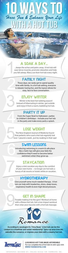 10 Ways a Hot Tub Can Improve Your Life #Infographic #Thermospa #HotTub