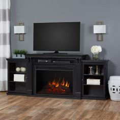 Real Flame Tracey Grand Entertainment Electric Fireplace, Black