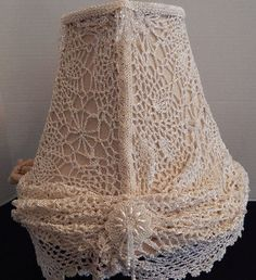 SOLD       -handmade / handcrafted shabby chic lamp shade -lace doiley, burlap, crystals..