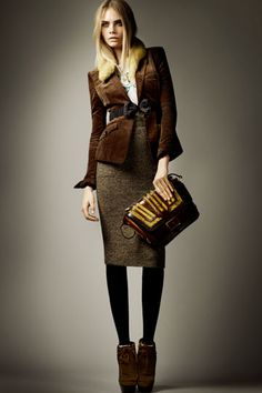 Burberry Pre-Fall 2012. Love the whole outfit and the Bow belt.