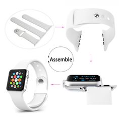 Apple Watch Band, Smarco Soft Silicone Replacement Watch Band for 38mm apple Watch(Not for 42mm Version,3pcs Bands for 2 Lengths)(White)