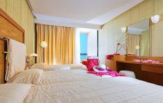 Rooms Malia Crete - Rooms triple with sea view - triple room malia Triple Room, Crete, Beach Resorts, Dan, Rooms, Furniture, Design, Home Decor, Bedrooms