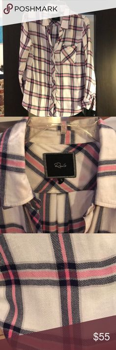 RAILS Hunter Plaid RAILS Hunter plaid in super cute pink /navy (almost black) pattern. Soft rayon. No piling or stains. EUC. Just have too many similar ones! I love Rails and open to trading for other Rails or James Perse. Rails Tops