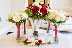 Red and White Rose Bridal Bouquet. http://www.michelleechavarriaphotography.com