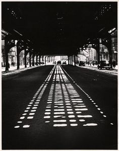 """""""But there is beauty along this street of forgotten men…"""" -Weegee  Weegee, taken at the intersection of Bowery and Broome, facing downtown, NYC, 1945"""