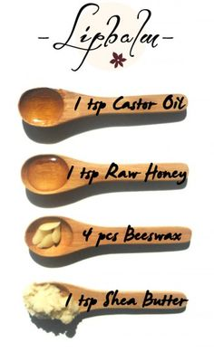 Very Moisturizing Homemade Lip Balm - 1 tsp Castor oil + 1 tsp Shea Butter + 1 tsp Raw Honey + 4 pcs of Beeswax. Melt and pour to a nice container. You will love how soft your lips will become! Think I will sub coconut or almond oil for the castor oil. Homemade Lip Balm, Diy Lip Balm, Homemade Lipstick, Lip Balm Recipes, Homemade Beauty Products, Bee Products, Facial Products, Homemade Cosmetics, Happy Skin