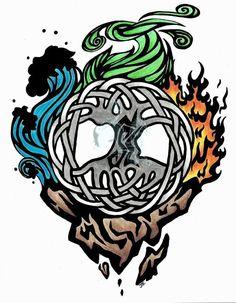 Tree Of Life Tattoo Designs 4 Elements Of Life, Four Elements Tattoo, Avatar Tattoo, Element Tattoo, Tattoo Life, Body Art Tattoos, Tattoo Drawings, Tatoos, Tree Branch Tattoo