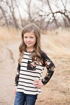 Little Girls Floral Striped Top, Matching Mommy and Me Clothing, Boutique, Ryleigh Rue, Top, Striped top, Floral top, long sleeve top, fashion, online shopping, online boutique, kids clothing