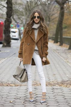 sweater: Cynthia Vincent, coat: Trina Turk, shoes: Valentino, bag: Celine | something navy - Another option is to substitute the white jeans for a brown pair and add a touch of red-orange somewhere (e.g. lipstick).