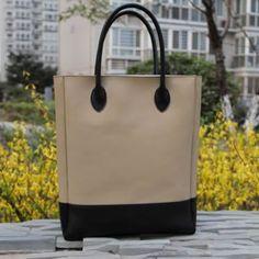 Handmade Artisan Genuine Leather Women's Tote Handbag Satchel - Cream with Black