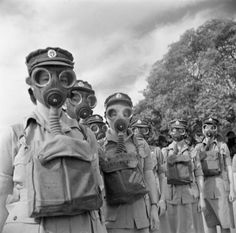 WAR OFFICE SECOND WORLD WAR OFFICIAL COLLECTION (E 18586) Women soldiers with gas masks