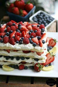 strawberry and blueberry shortcake