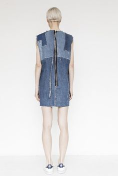Denim Patchwork Shift Dress by Assembly New York
