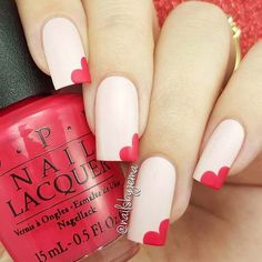 Light Pink Nails with Hearts #valentinesday