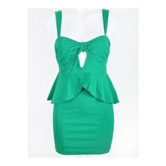 BOW FRONT CUT-OUT PEPLUM DRESS - Ally Fashion found on Polyvore featuring polyvore, women's fashion, clothing, dresses, cut out dress, peplum dress, green peplum dress, green cut out dress and bow front dress