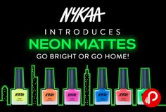 Nykaa is offering Neon Mattes Collection Just Rs.179 Each. #Nykaa #NykaaNails #NykaaFloralCarnival #PersonNotPataka collection for Rs.179 each. Enjoy FLAT 200 Off on shopping any product/s worth Rs.1500. @MyNykaa   http://www.paisebachaoindia.com/nykaa-neon-mattes-collection-just-rs-179-each-nykaa/