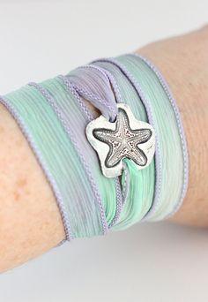 Starfish Silk Ribbon Bracelet, Beach Jewelry Sea Life, Rustic Fine Silver Bracelet Eco Friendly PMC, Beach Wedding Lavender and Mint Green. $56.00, via Etsy.