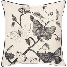 Bring a touch of elegant beauty to your bed or chaise with the Flutter Pillow, showcasing sketch-inspired butterflies in an inviting palette of gray and ivor...
