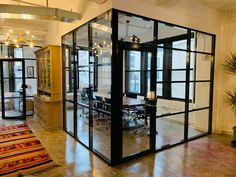 Glass and aluminum office partitions deliver same high-end look as steel partitions, but cost significantly less and are much easier to install. Industrial Office Design, Modern Office Design, Office Interior Design, Office Interiors, Modern Industrial, Glass Office Partitions, Glass Partition Wall, Partition Design, Glass Room Divider