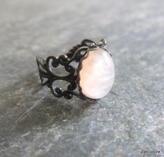 Peach Ring Adjustable Antique Brass Vintage Style Exotic LOTR Gothic Steampunk Lord of the Rings Romantic The Great Gatsby Ballerina Girly