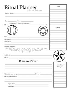 This one page worksheet has space for all the information you need to plan, carry out, and look back at your rituals. Wiccan Magic, Pagan Witchcraft, Ritual Magic, Wiccan Witch, Grimoire Book, Witchcraft For Beginners, Wiccan Crafts, Witch Spell, Modern Witch