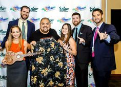 #Gabriel Iglesias shows off his new attire supplied by the staff at the #USF Sun Dome in Tampa, Fla., May 15. Hanging loose with Iglesias are the venue's Jack Ligon, Allison Dobin, Michele Harhut, Nick Byer and Trent Merritt. (Aimee Blodgett) #Pollstar