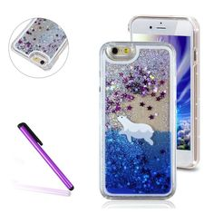 "iPhone 7 Plus Case,iPhone 7 Plus 5.5"" Case,EMAXELER 3D Quicksand Brilliant Liquid Luxury Liquid Floating Bling Moving Star Hard Protective Case for iPhone 7 Plus 5.5 inch Stylus Pen Polar Bear"