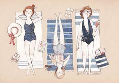 Sunbathing Print by Kelsey Garrity-Riley Illustration contemporary-artwork Illustration Mignonne, Cute Illustration, Summer Is Here, Happy Summer, Summer Fun, Summer Time, Summer Beach, Summer Days, Color Inspiration