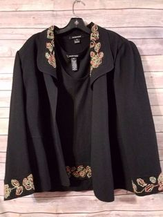 Ellen Tracy 2 PC. Blazer and Tank Top Set Plus Size 3X & 18 W Black Career #EllenTracy #BlazerandTank
