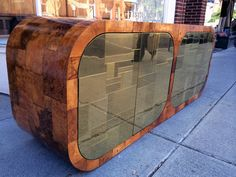 Brass and Burl Patchwork Cityscape Credenza Paul Evans for Directional | From a unique collection of antique and modern credenzas at https://www.1stdibs.com/furniture/storage-case-pieces/credenzas/
