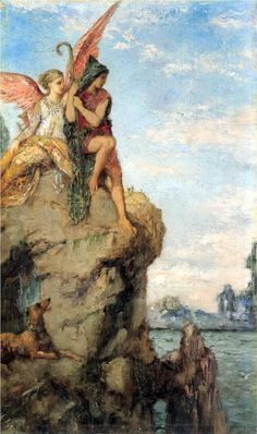 Hesiod and the Muse on Rock - painting by Gustave Moreau