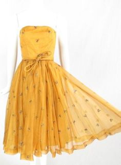 Vintage 50s Couture Embroidered Chiffon Marigold Yellow Party Cocktail Dress Xs